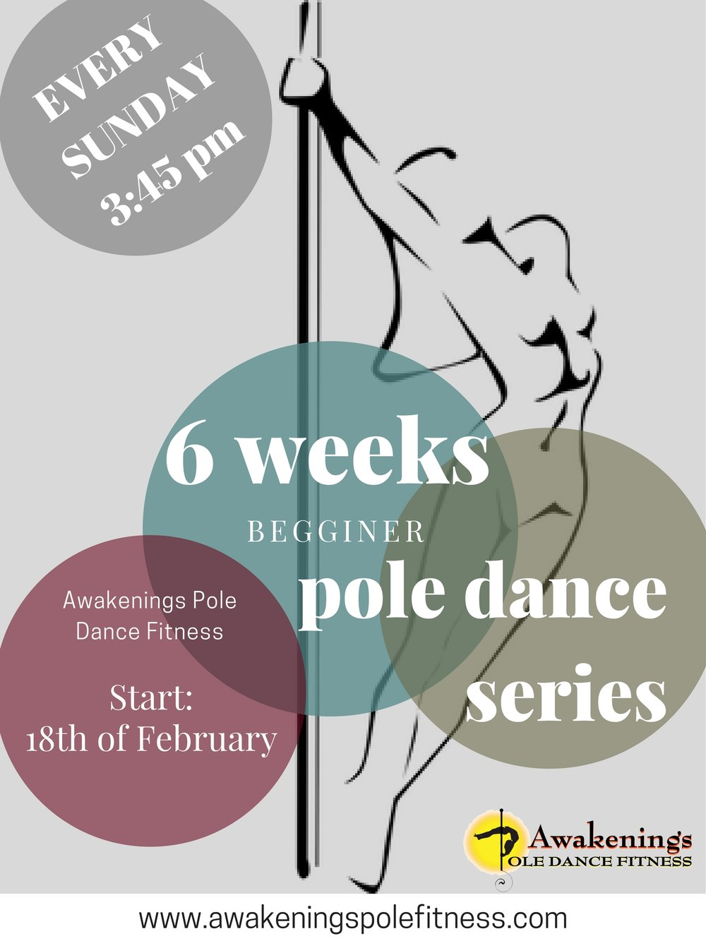 Poster created for the Awakenings Pole Dance Fitness, Philadelphia, PN.