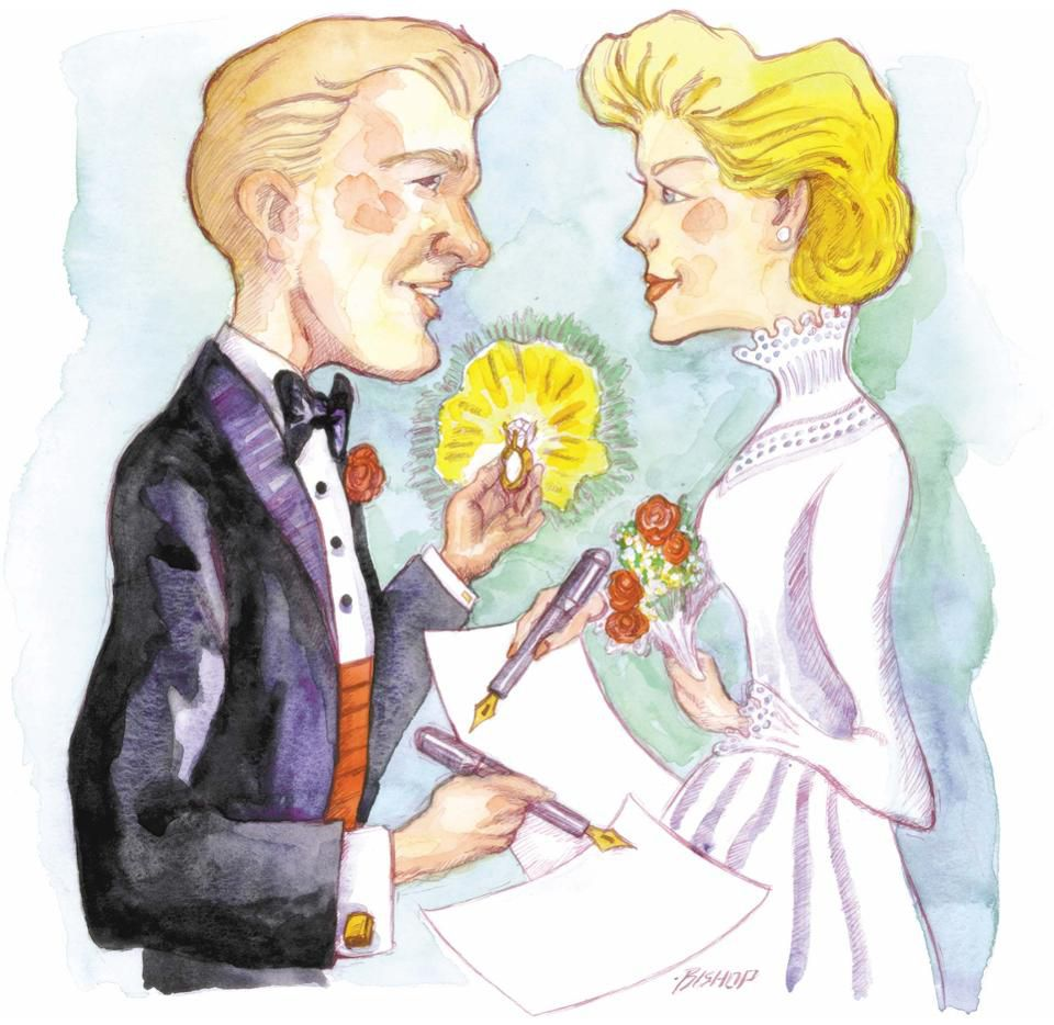 Randy Mack Bishop color illustration of a bride and groom signing prenuptial agreements. (The Dallas Morning News/MCT via Getty Images)
