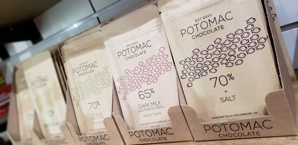 Potomac chocolate, made in Woodbridge Virginia, is one of the craft chocolate bars we carry at Cape Charles Candy Company. Each bar is  made in small batches using premium and ethically sourced cocao beans.