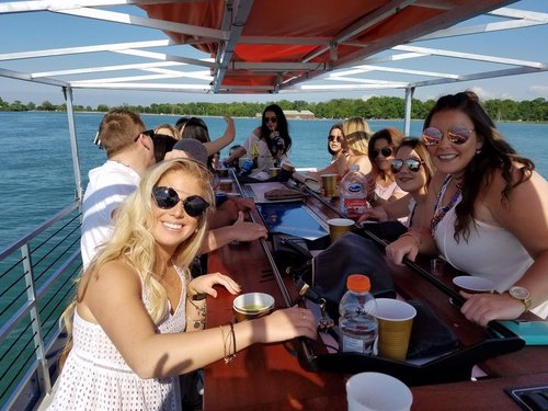 Things to do in Saugatuck? This cycle boat is perfect for West Michigan bachelorette and bachelor parties.