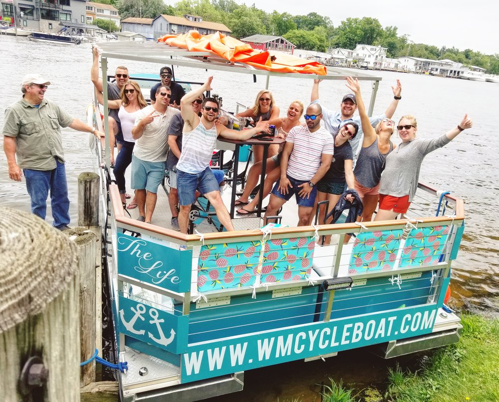Things to do in Saugatuck? Our cycle boat is the best beach bar on the water in West Michigan