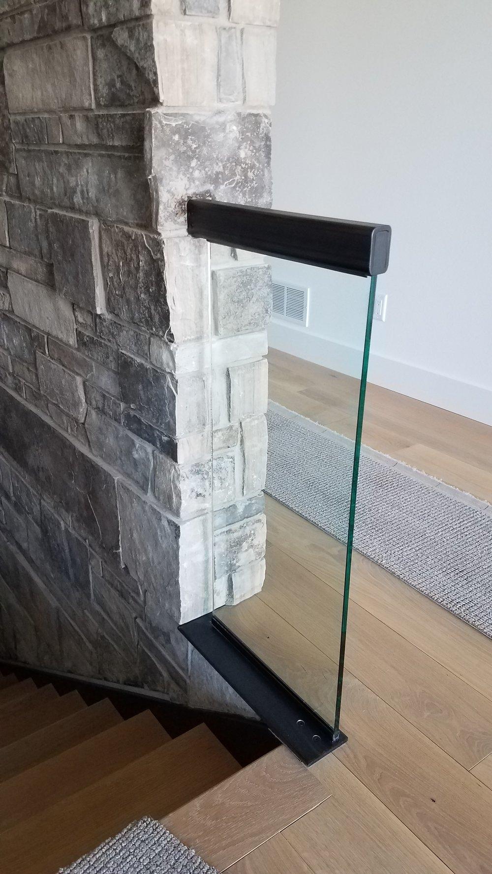 "Steel Handrail & Base Custom Machined for 3/4"" Glass"