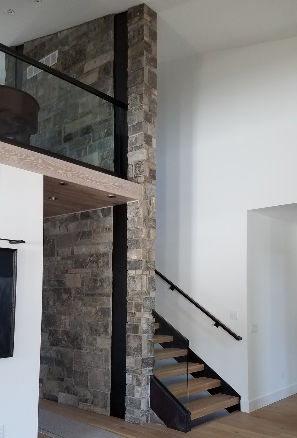 Steel Handrail and Base, Steel Stringers and Steel Accent Panel