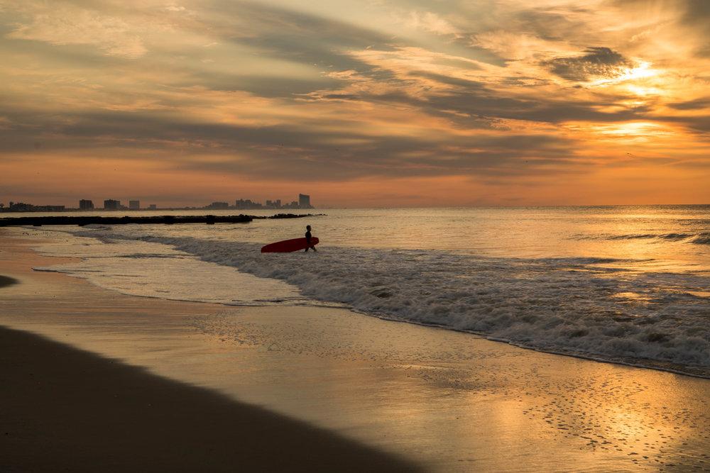 A sunrise surf in Ocean City, NJ.
