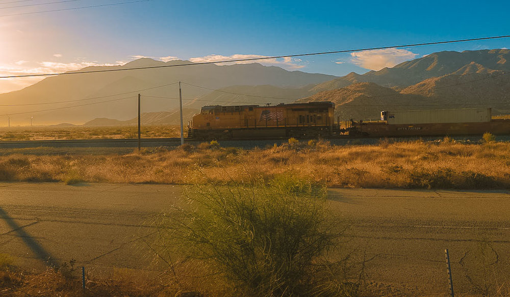An American Freight Train headed for the Cajon Pass.