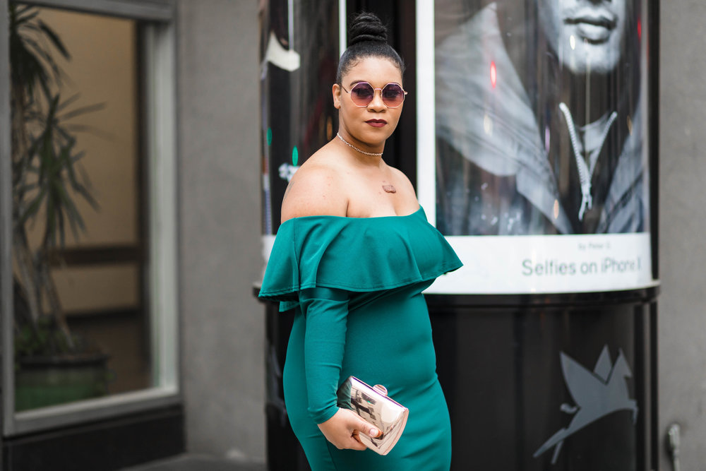 Leaned on Green: Ruffled Off-the-Shoulder Dress + Rose Gold Accessories - Natalie Greagor