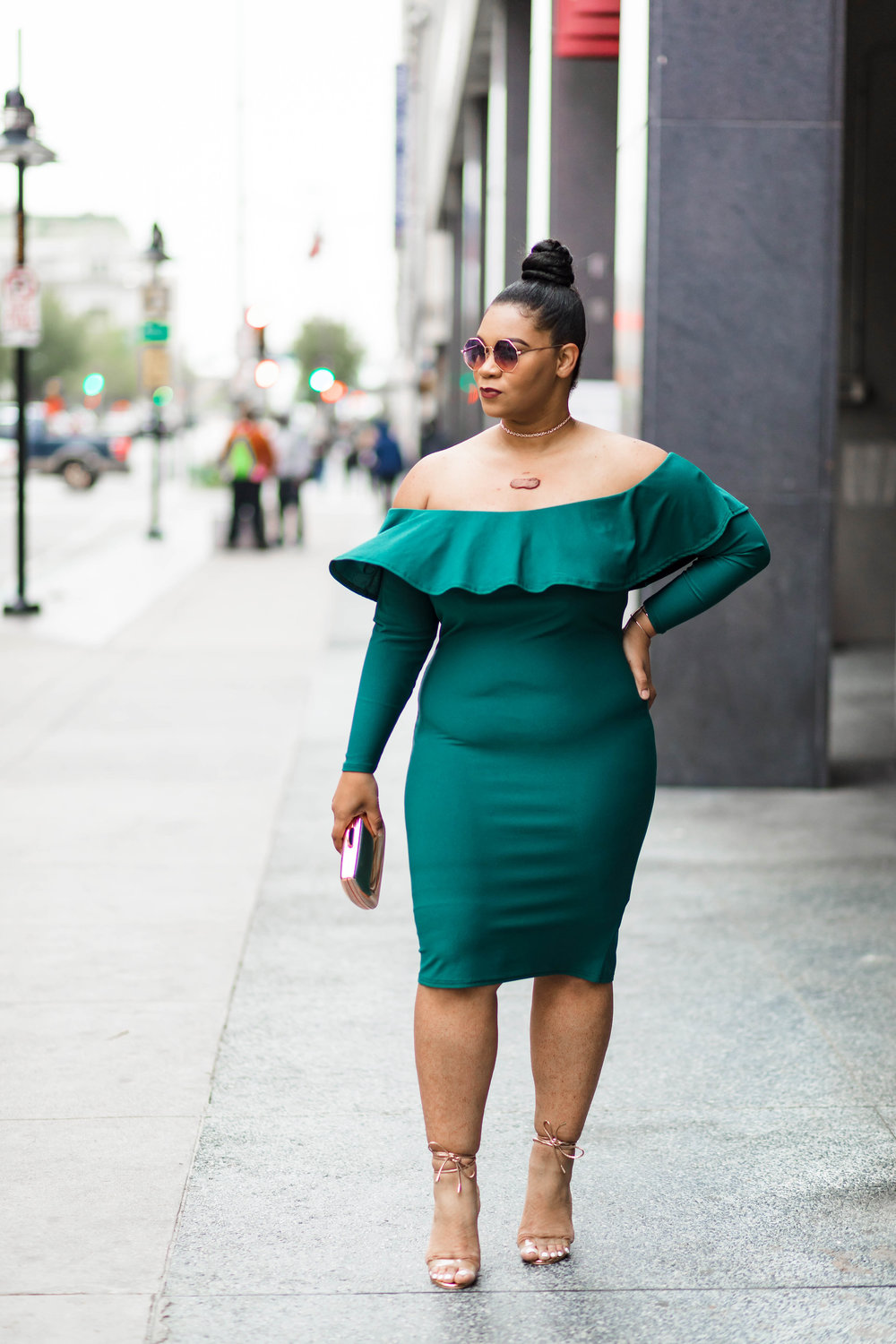 Leaned on Green: Ruffled Off-the-Shoulder Dress + Rose Gold Accessories