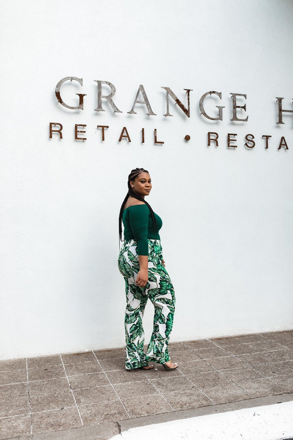 #OOTD GREEN OFF-THE-SHOULDER TOP & GREEN FLORAL TROUSERS - Natalie Greagor.jpg