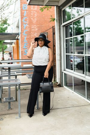 Brunch Outfit Ideas Polka Dots Floppy Hat Fashion Natalie Greagor