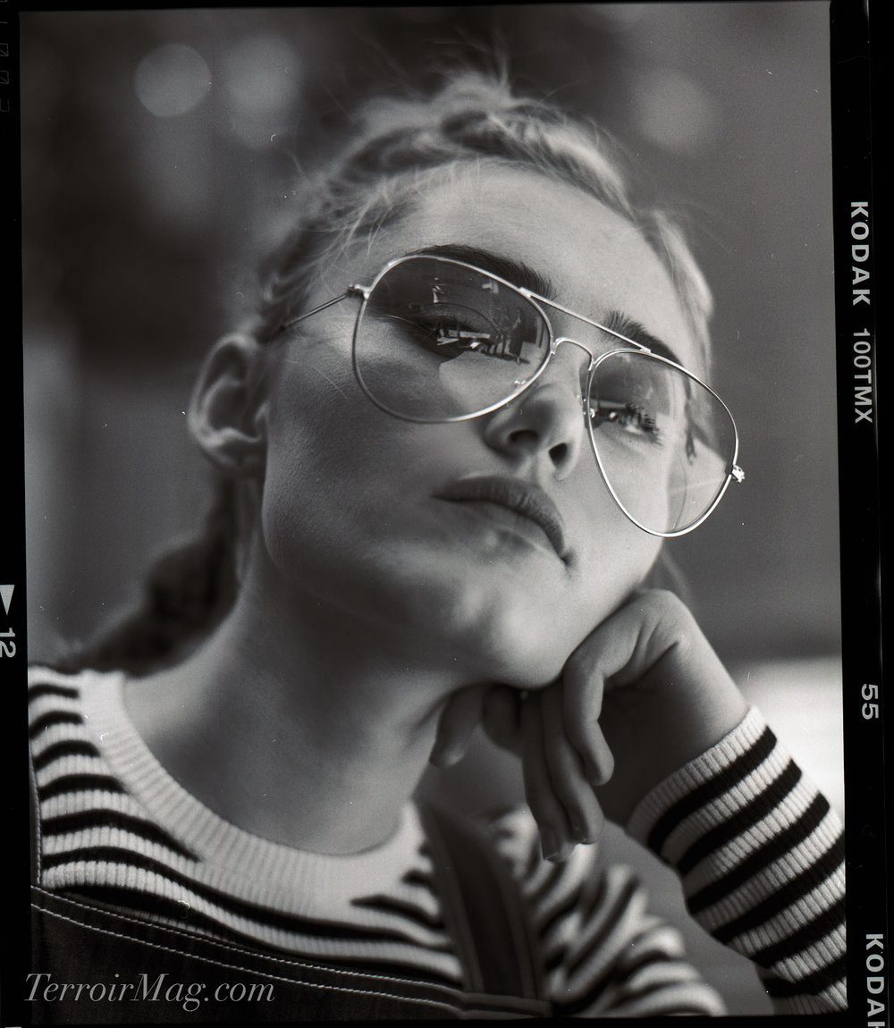 Photos by  Noah Asanias   A.L.C. Striped Sweater Tee Ink Overalls Urban Outfitters Aviator Sunglasses