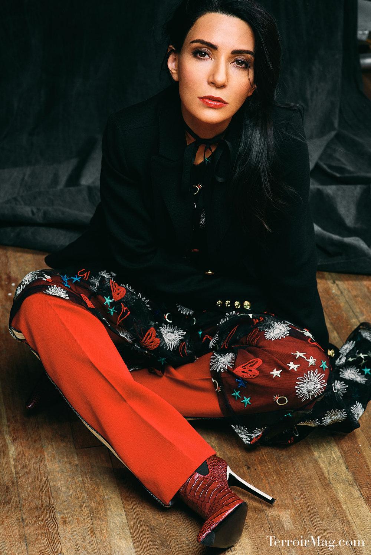 Photographed by:  Noah Asanias  Blazer - Shiyhe Dress- Maje Track Pants- Calvin Klein Shoes - YSL Tie - Gucci