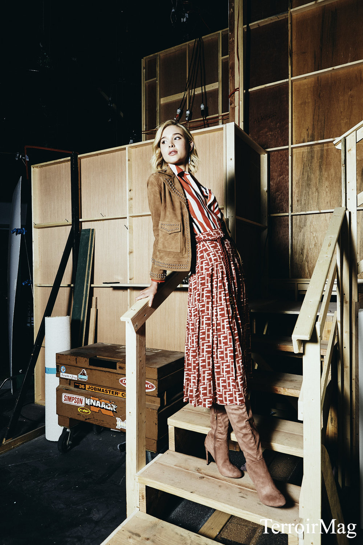 Brown either Jacket: AllSaints Stripe Button Up: Pinko Skirt: Elisabetta Franchi Earrings: Lucky Brand Thigh Highs: Aldo