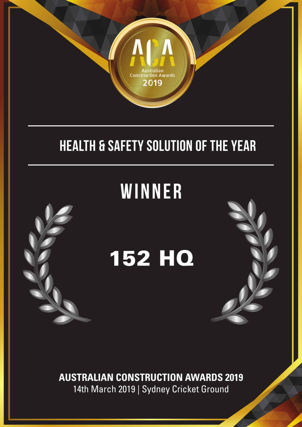Health & Safety Winner ACA 152HQ