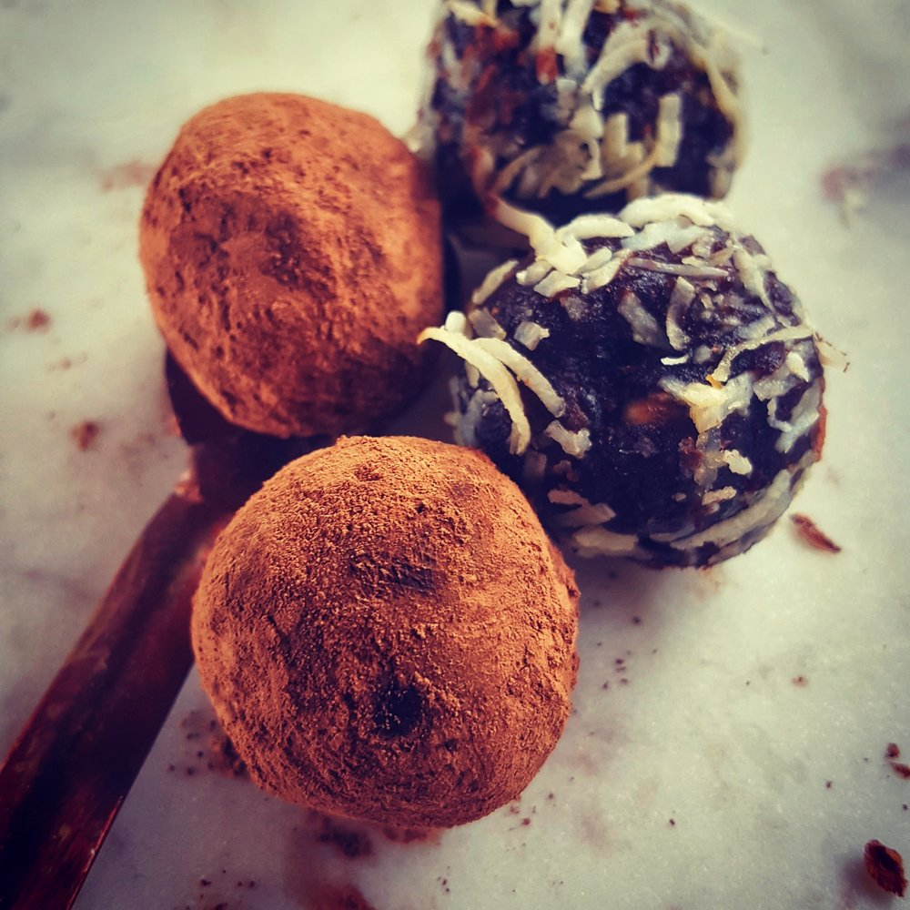 Cricket, cacao and date balls.