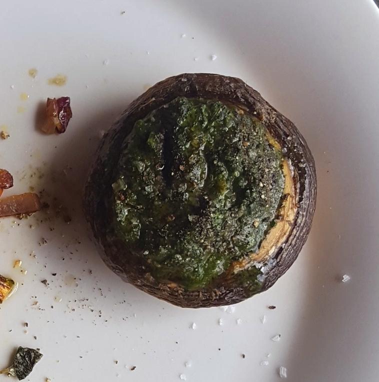 Cricket pesto stuffed roast mushroom.