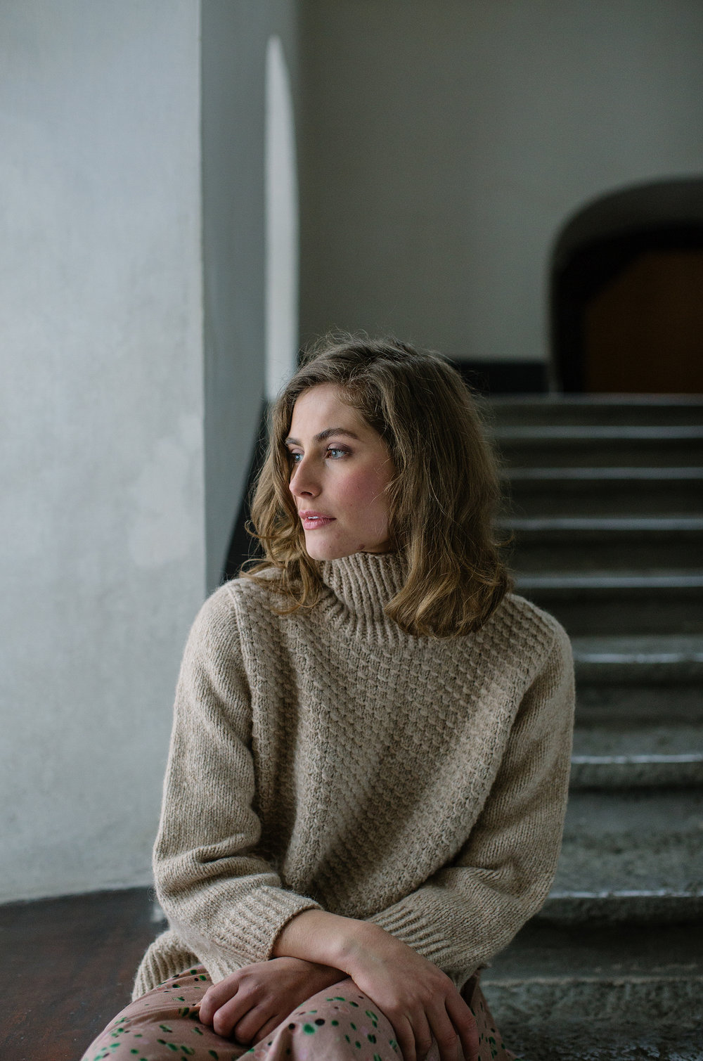Lakeland  by Fiona Alice with a high collar is our go-to sweater – especially at the cabin.