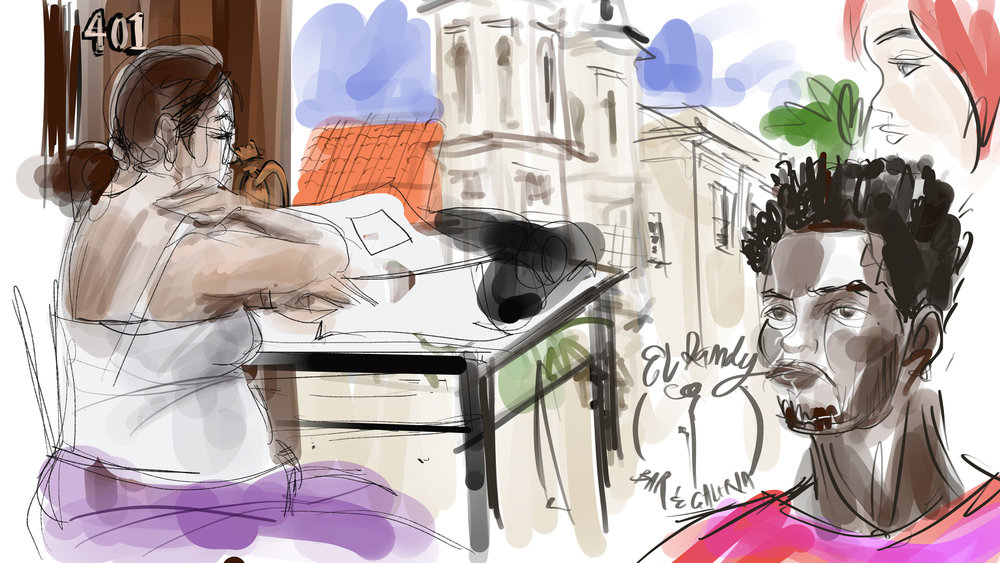 Last day in Havana, a quick sketch over a Tuna sandwich and espresso in the El Dandy cafe.