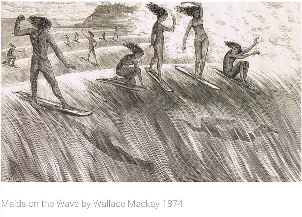 Maids on the Wave by Wallace Mackay, 1874 - Join Lotus Bay Yoga for a three part yoga series paying tribute to the history of surfing.