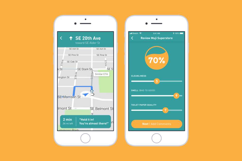 Through navigation, the app offers you encouraging messages through your journey to your destination. Once you get there, you'll be able to immediately leave a review of the restroom.