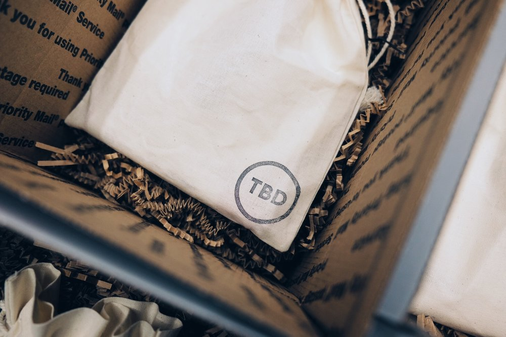 Each muslin bag was stamped with the TBD logo.