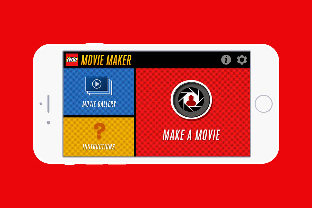 Home screen for the LEGO Movie Maker App.
