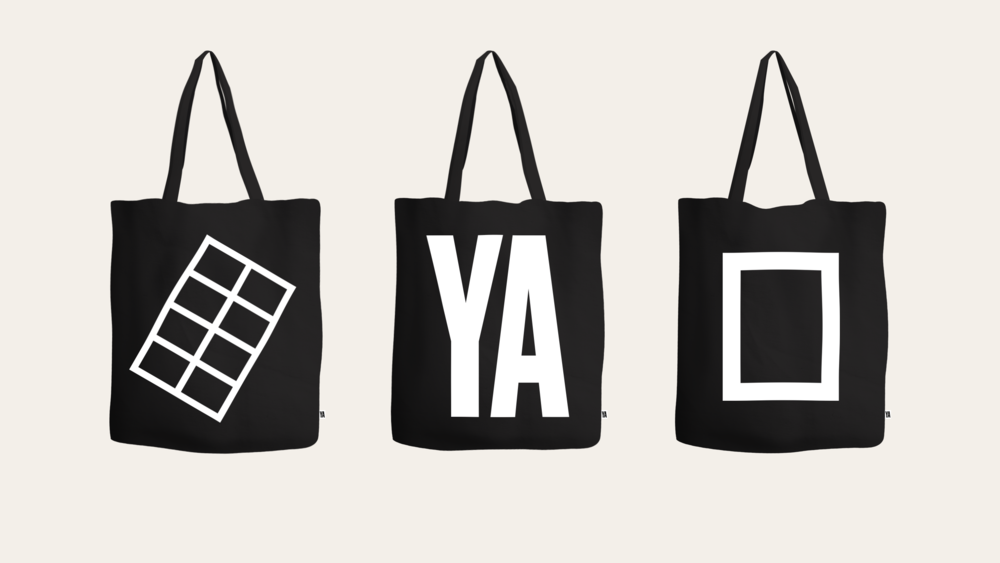 YA tote bags soon for their merch shop with their primary and secondary marks.