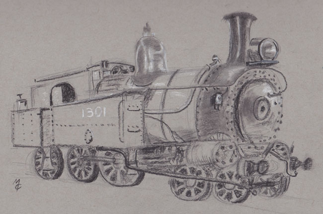 charcoal drawing of a 13 class locomotive