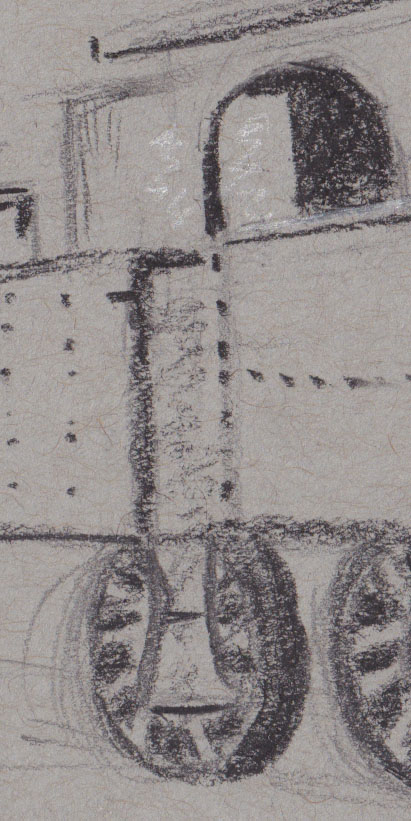 charcoal drawing of engine at Thirlmere - detail