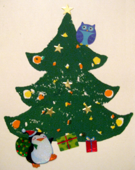 Christmas tree made with rubber printing block