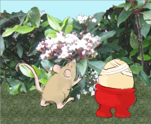 Mouse and Egg in front of a bush
