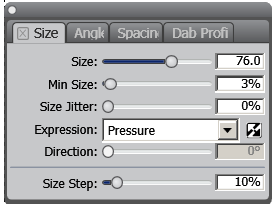 Settings for Painter brush with expression by pressure