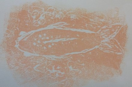 fish in white lines on pale orange background