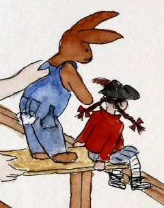 a pirate doll and toy rabbit on the edge of a plank on the boat railing