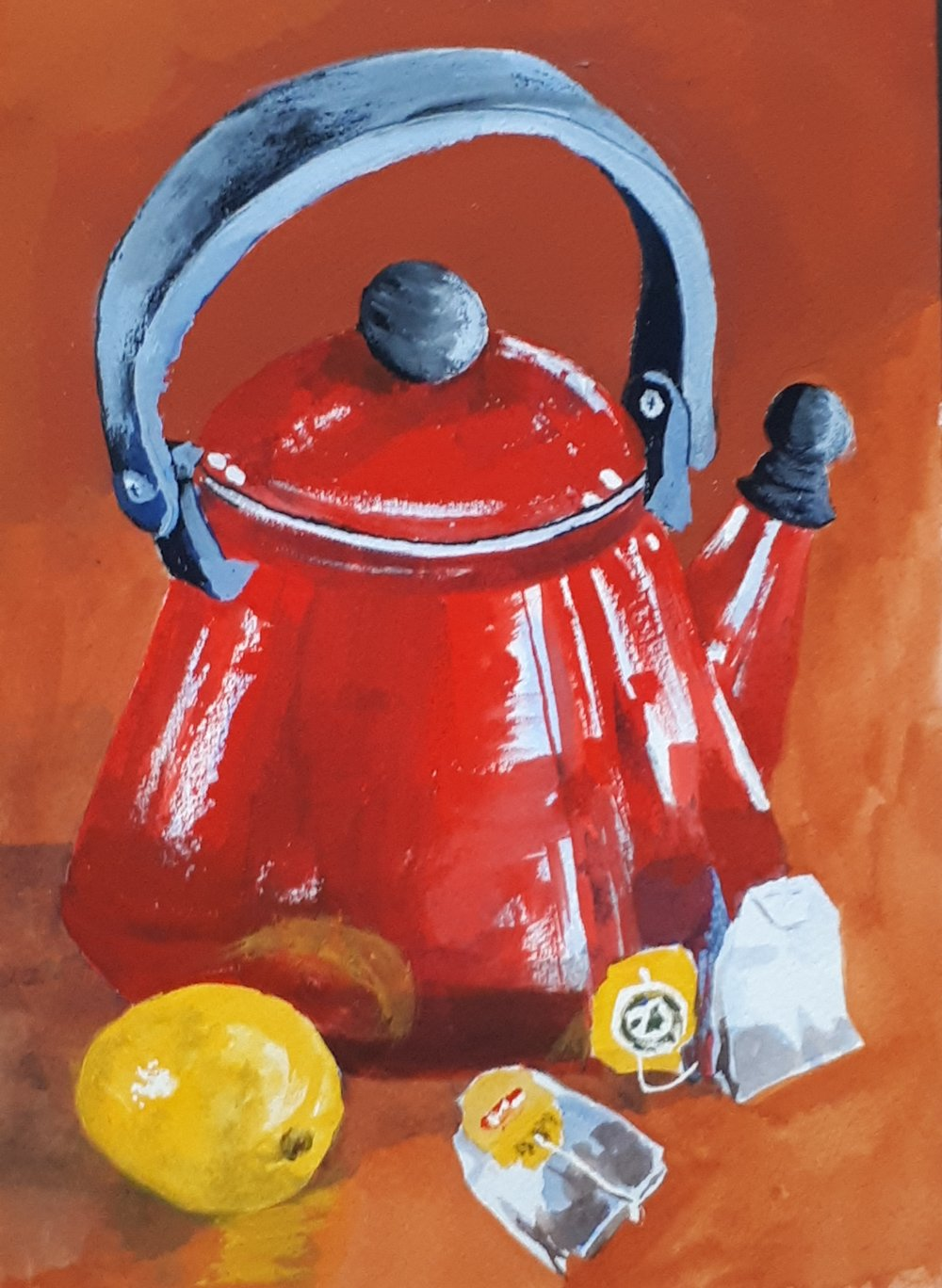 The final painting - red kettle with lemon and Liptons teabags