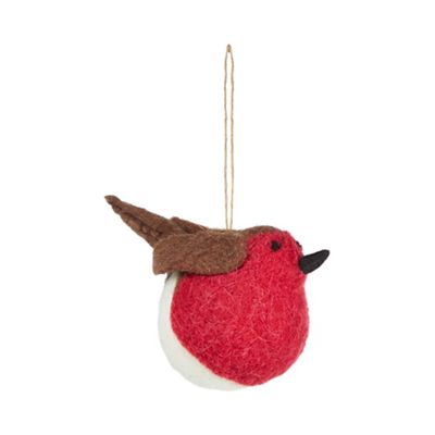 Wool robin Christmas tree decoration