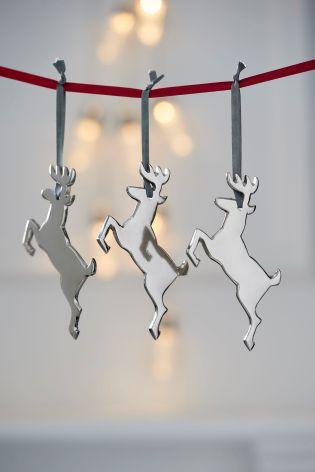 Set Of 3 Reindeer Baubles