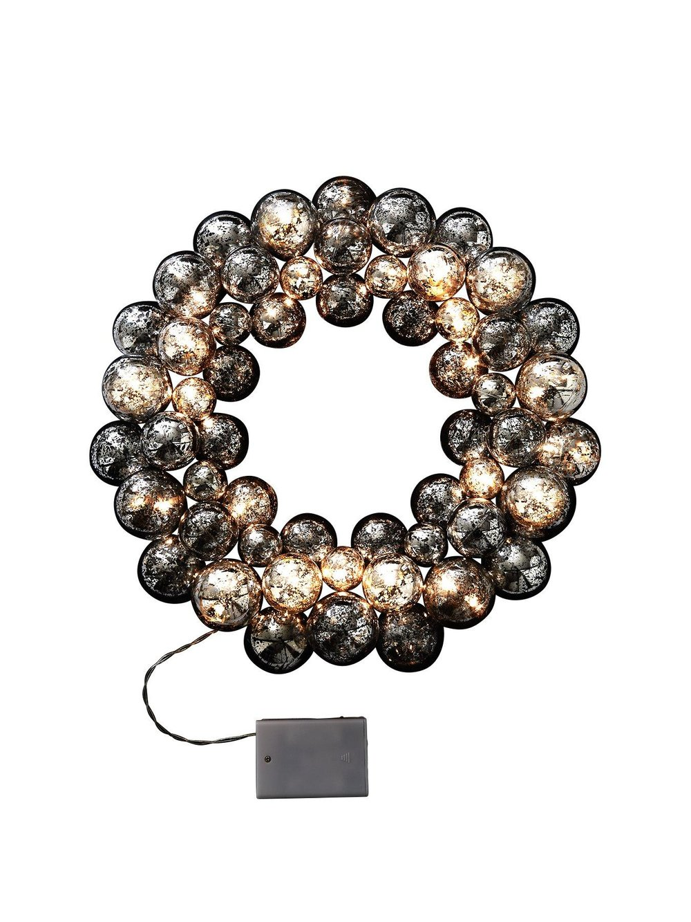 Silver Bauble Christmas Wreath with LEDs