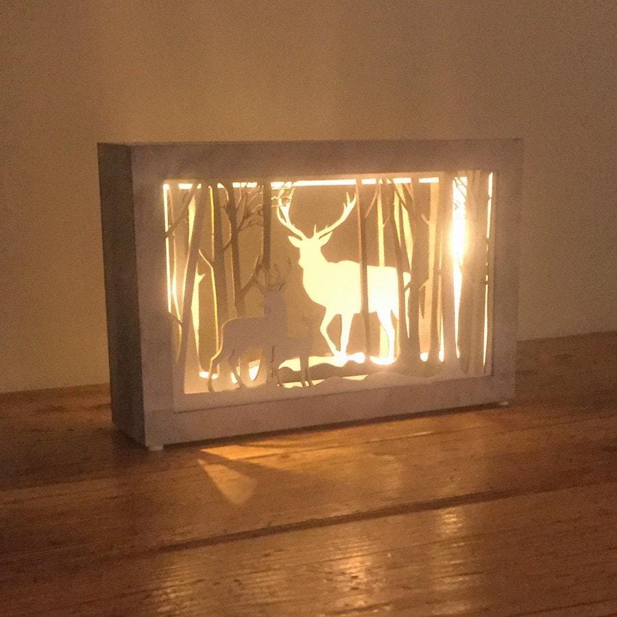 Festive LED decorative reindeer light box