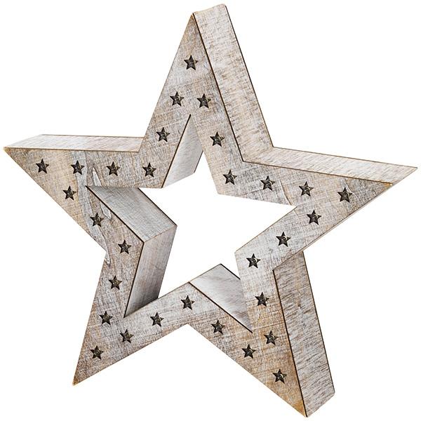 Snowdrift Lit Wooden Star