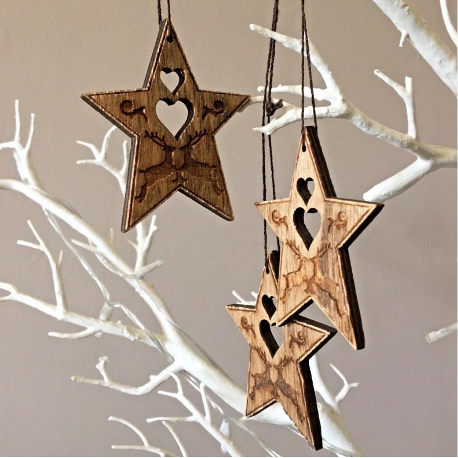 Hanging wooden stars