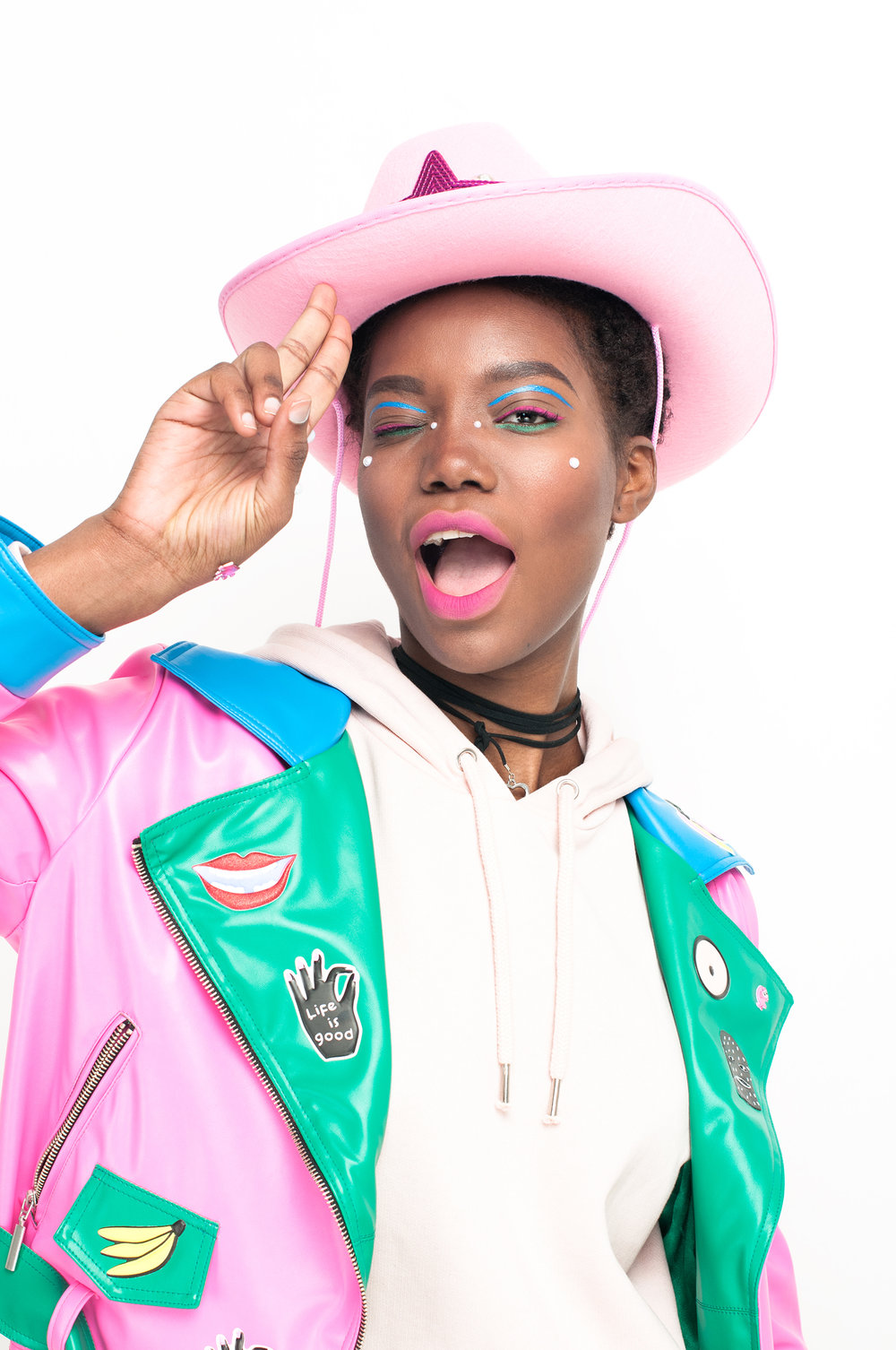 Jacket: #LenaGolova Hoody: Monki Choker: Diva Hat: #LenaGolova