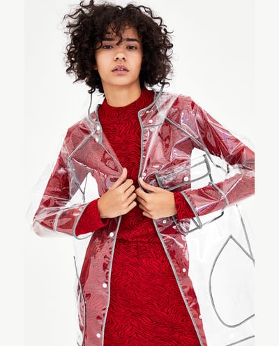 - Transparent raincoat, £29.99, ZARA