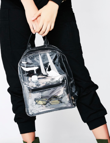 - Transparent rucksack, £21.54, Dolls Kill