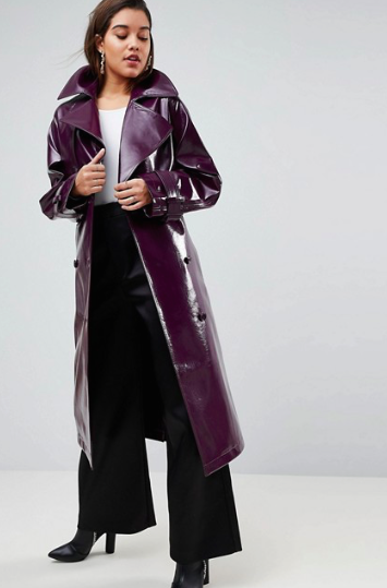 Oversized vinyl mac, £90, ASOS -