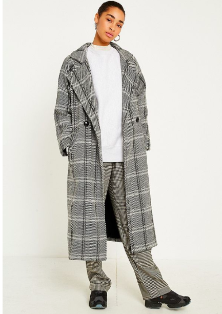 Checked midi car coat,£90, Urban Outfitters -