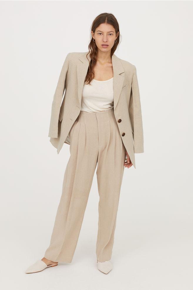 Wide linen trousers, £49.99,   HM