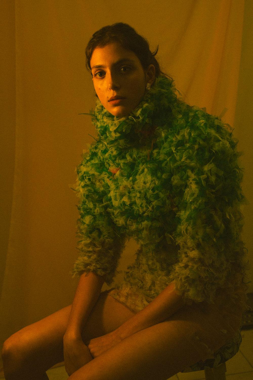 Dress by Maya Hochstadter for Shenkar @ mayahoch  | Earrings by Something @ somethingbyronasegev