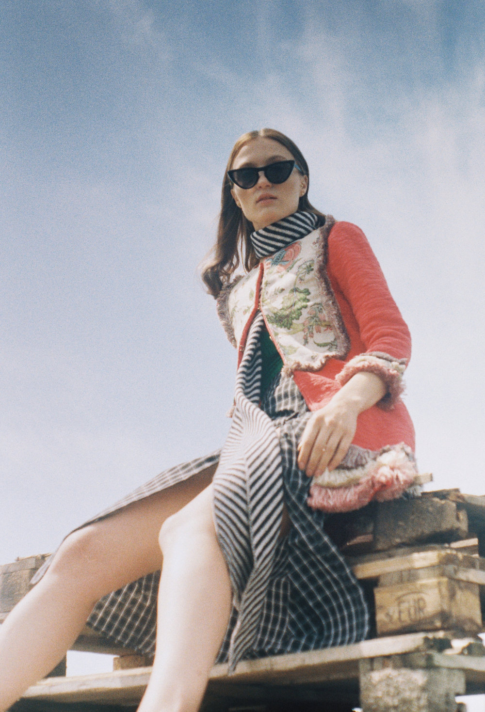 ACC/Sunglasses: Stylist's Own  ACC/Scarf: MAX&Co.  Jacket: The Extreme Collection  Body: Pull&Bear  Skirt: Fashion Union