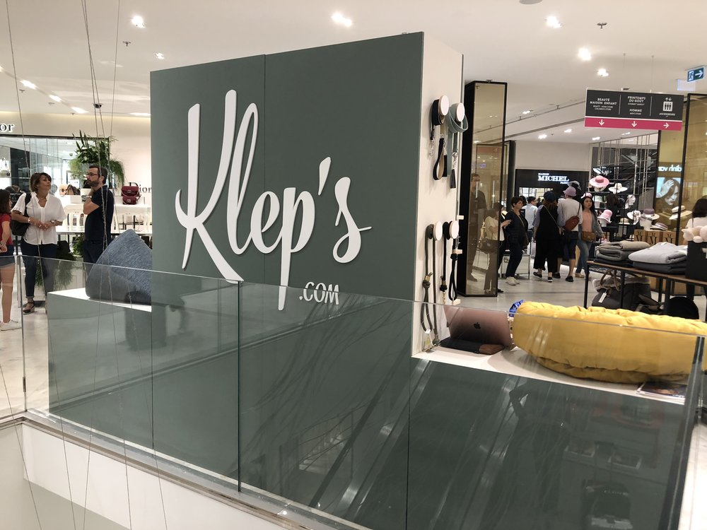 Signalétique Klep's pour boutique / stand en galleries
