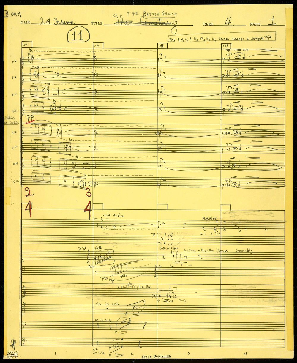 Jerry Goldsmith's handwritten score to  Patton  ( Oscars.org )